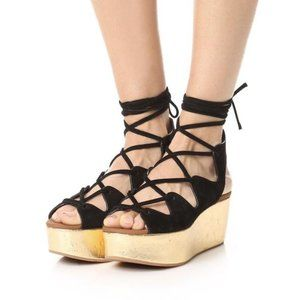 See by Chloé Black and Gold Liana Platform Sandals